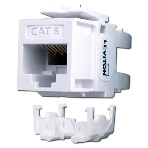 White Leviton Cat6+ Ethernet Jack for QuickPort Frames