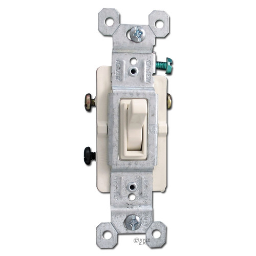 Light Almond 3 Way 15 Amp Toggle Switches