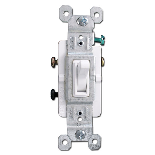 White 15A 3 Way Toggle Switch