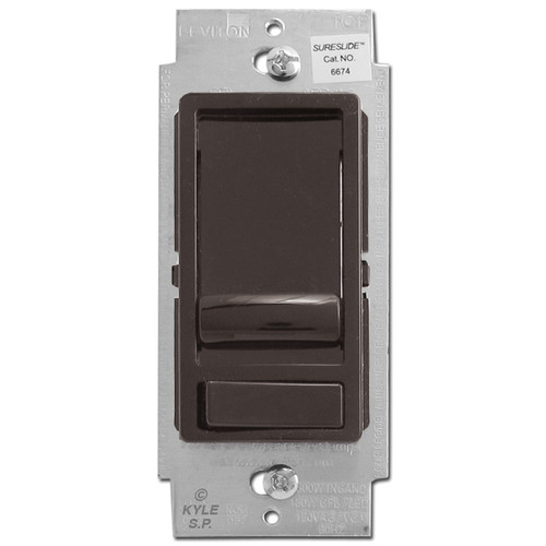 Brown Single Pole or 3 Way Slide Dimmer with On Off Switch