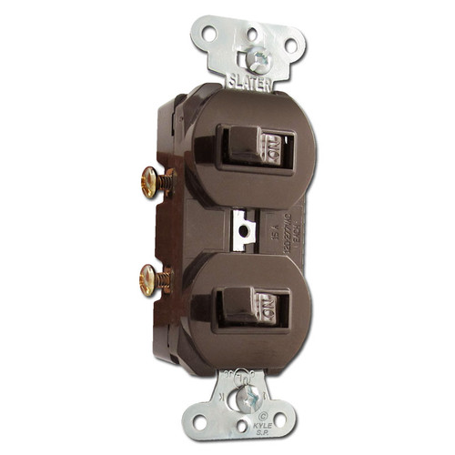 Brown Horizontal Double Toggle Duplex Switch