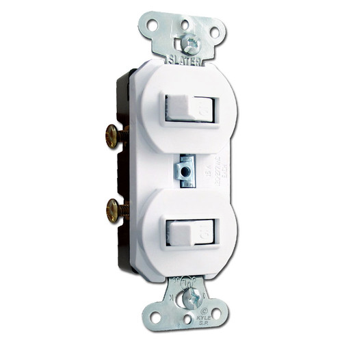 White Horizontal Double Toggle Duplex Switch