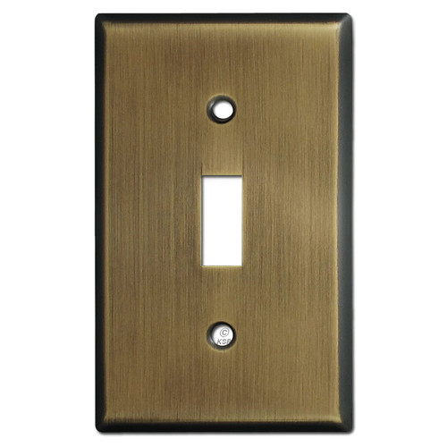 1 Toggle Switch Plate Covers - Antique Brass
