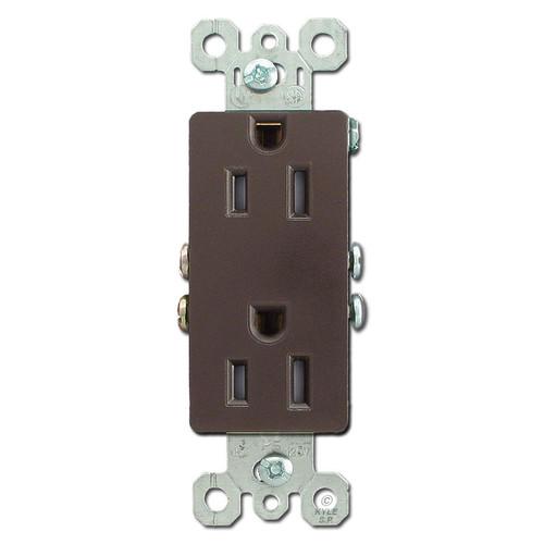 Brown 15A Tamper Resistant Block Outlets