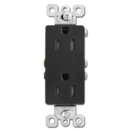 Black 15A Tamper Resistant Decorator Receptacle