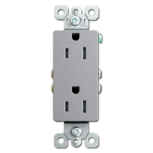 Gray 15A Tamper Proof Block Receptacle Outlet