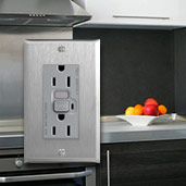 Gray Switches & Outlets with Stainless Steel Plates
