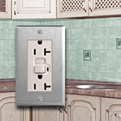 Light Almond & Stainless Steel Kitchen Outlets