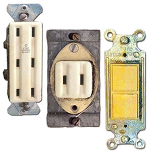 Vintage light switches and outlet sockets