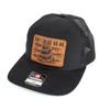 Snapback Trucker Hat w/Leather Patch - Don't Tread On Me - Black Hat