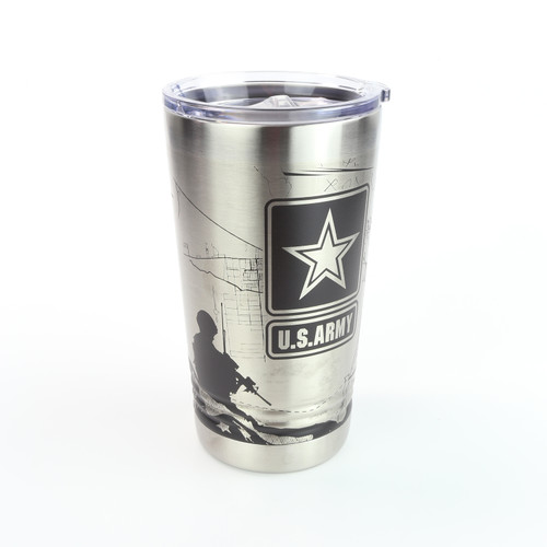 16oz. Pint Stainless Tumbler - US Army - 360 Degree Design - Laser Engraved