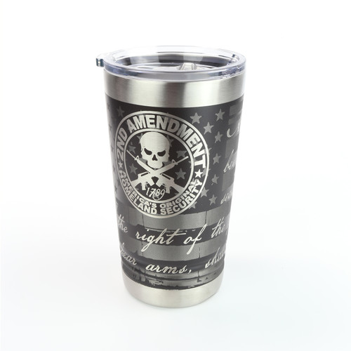 16oz. Pint Stainless Tumbler - We The People / Second Amendment - 360 Degree Design - Laser Engraved