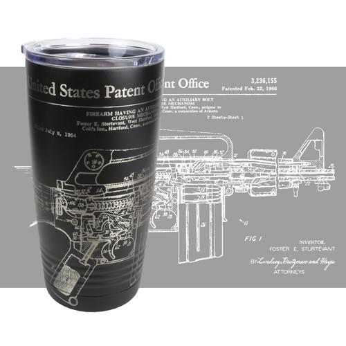 20oz Stainless Tumbler - AR-15 / M-16 Patent - Laser Engraved