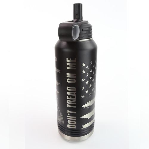 32oz. Stainless Water Bottle - Don't Tread On Me - 360 Degree Design - Laser Engraved