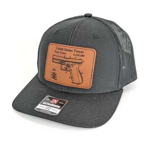 Snapback Trucker Hat w/Leather Patch - Glock Patent  - Black Hat