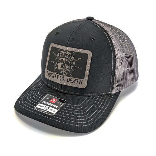 Snapback Trucker Hat w/Leather Patch - Liberty or Death  - Black/Charcoal Hat
