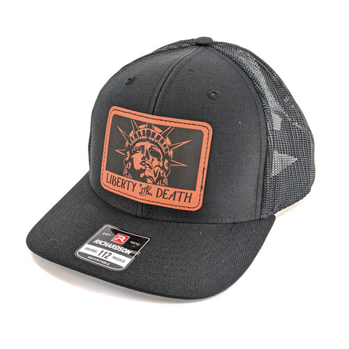 Snapback Trucker Hat w/Leather Patch - Liberty or Death  - Black Hat