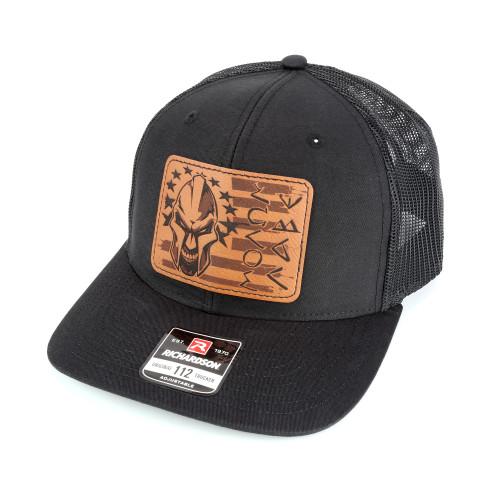 Snapback Trucker Hat w/Leather Patch - Molon Labe - Black Hat