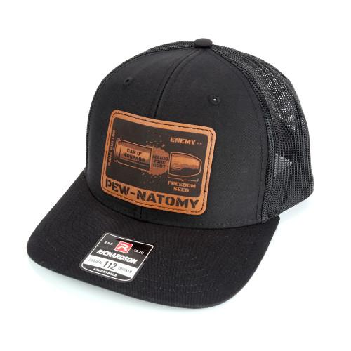 Snapback Trucker Hat w/Leather Patch - Pew-Natomy - Black Hat