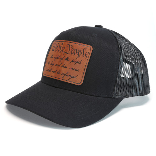 Snapback Trucker Hat w/Leather Patch - We The People / Second Amendment - Black Hat