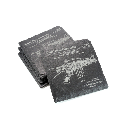 Slate Coaster Set of 4 - AR-15 / M-16 Patent - Square