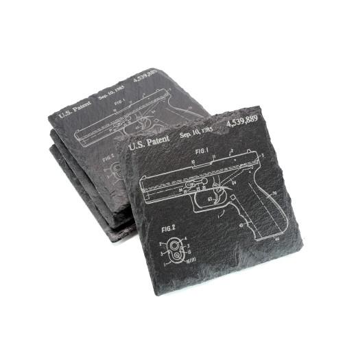 Slate Coaster Set of 4 - Glock Patent - Square