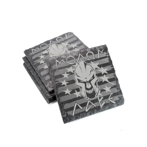 Slate Coaster Set of 4 - Molon Labe - Square