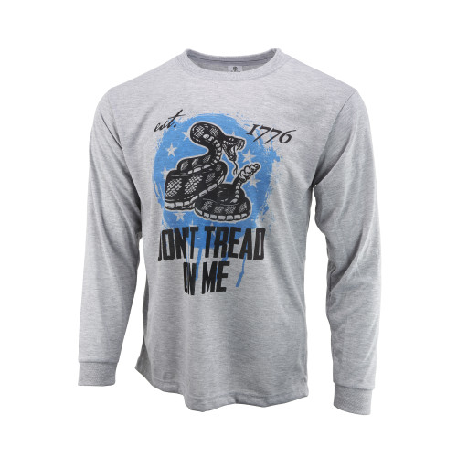 Sublimated Long Sleeve Shirt - Don't Tread On Me - Heather Grey