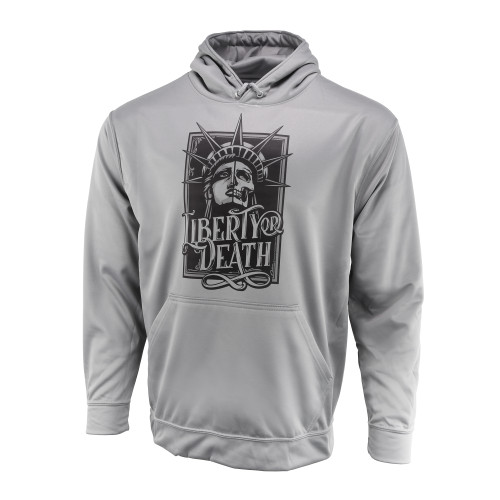 Sublimated Hoodie - Liberty or Death - Wicking Fleece - Athletic Grey