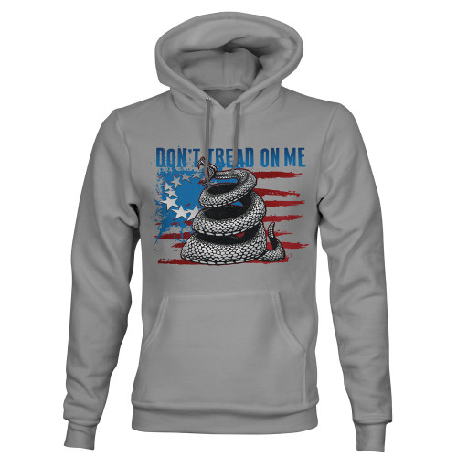 Sublimated Hoodie - Don't Tread On Me - Wicking Fleece - Athletic Grey
