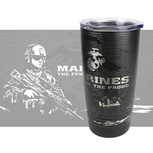 20oz Stainless Tumbler - USMC - Marines - 360 Degree Design - Laser Engraved
