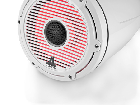 JL Audio 8.8-Inch M6 ETXv3 Tower Speakers, RGB LED, Gloss White, Classic Grille, M6-880ETXv3-Sb-C-GwGw-i