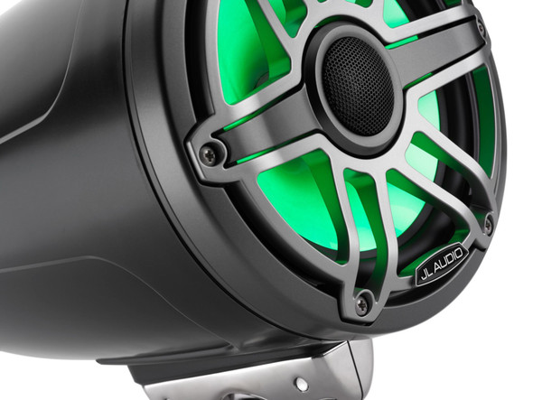 JL Audio 7.7-Inch M6 ETXv3 Tower Speakers, RGB LED, Gunmetal & Titanium, Sport Grille, M6-770ETXv3-Sb-S-GmTi-i