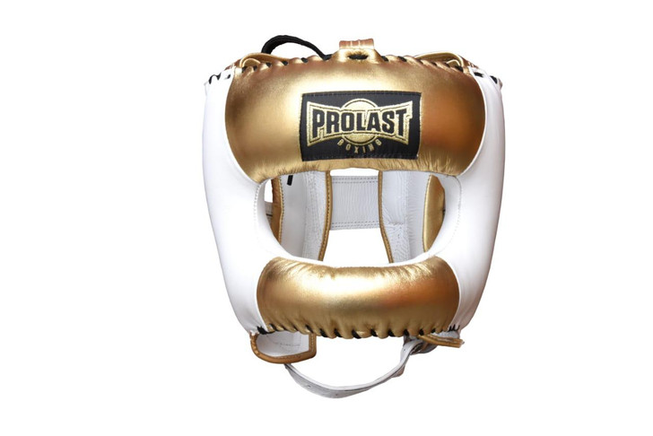 PROLAST Face Saver Leather Boxing Headgear with Nylon Face Bar - Gold/ White Color
