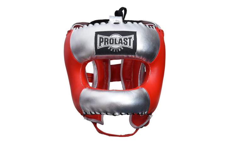 PROLAST Face Saver Leather Boxing Headgear with Nylon Face Bar - Red/ Silver Color