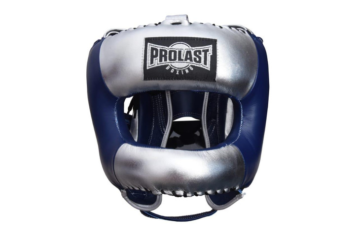 PROLAST Face Saver Leather Boxing Headgear with Nylon Face Bar - Blue/ Silver Color