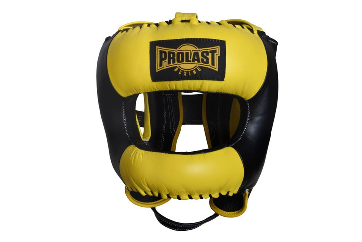 PROLAST Face Saver Leather Boxing Headgear with Nylon Face Bar - Yellow/ Black Color