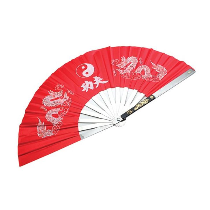Kung Fu Steel Fan Red