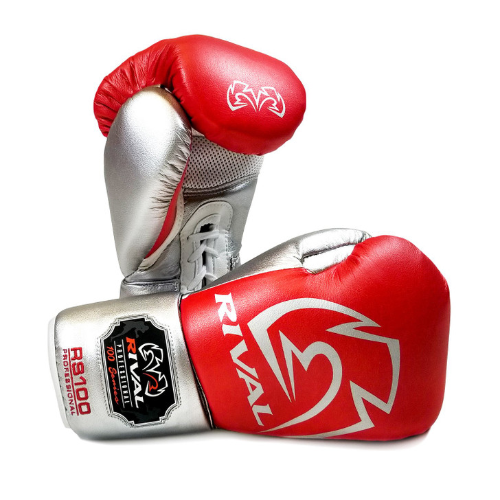 RIVAL RS100 Professional Boxing Sparring Gloves Red/Silver