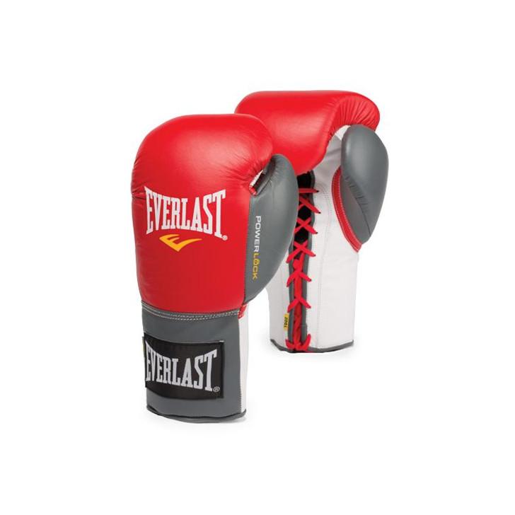 Everlast Powerlock Laced Training Gloves Red/Grey