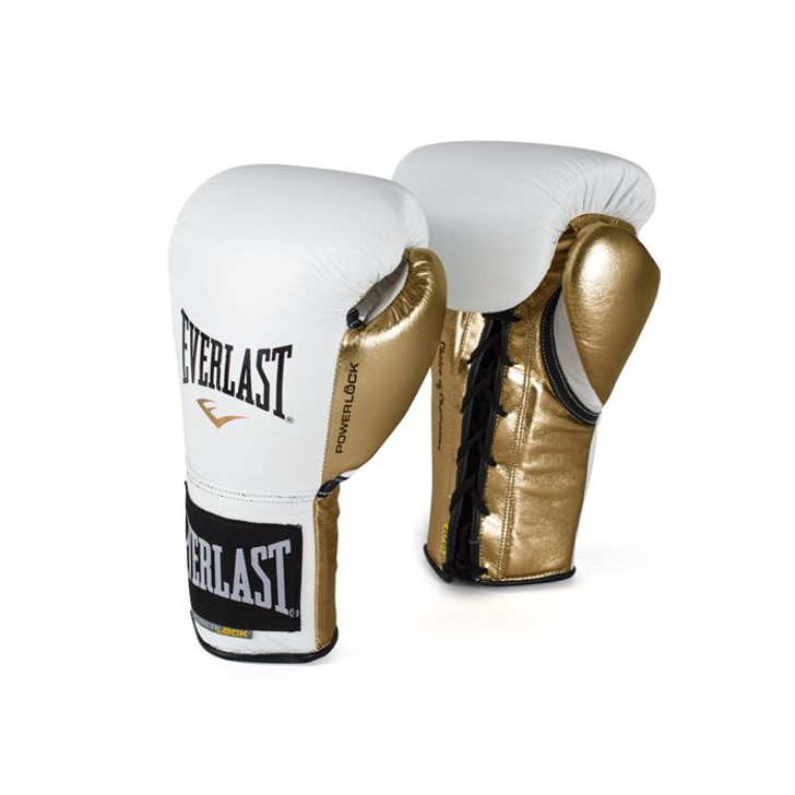 Everlast Powerlock Laced Training Gloves White/Gold