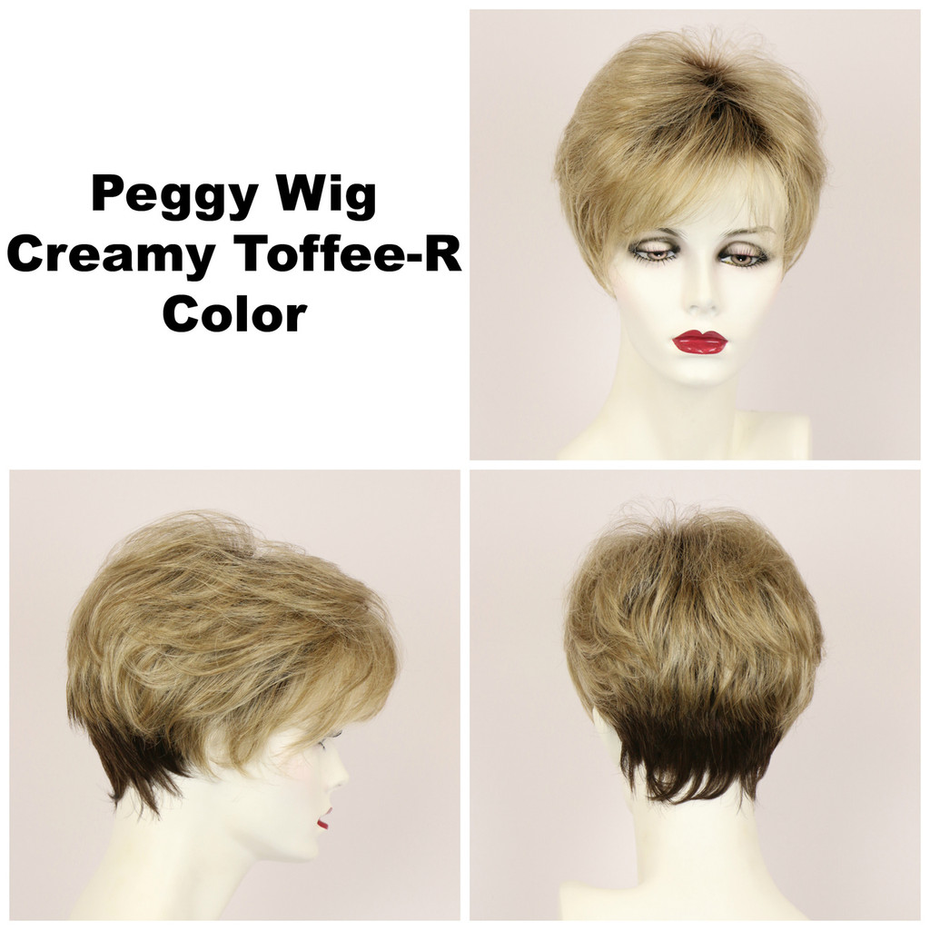 Creamy Toffee-R / Peggy w/ Roots / Short Wig