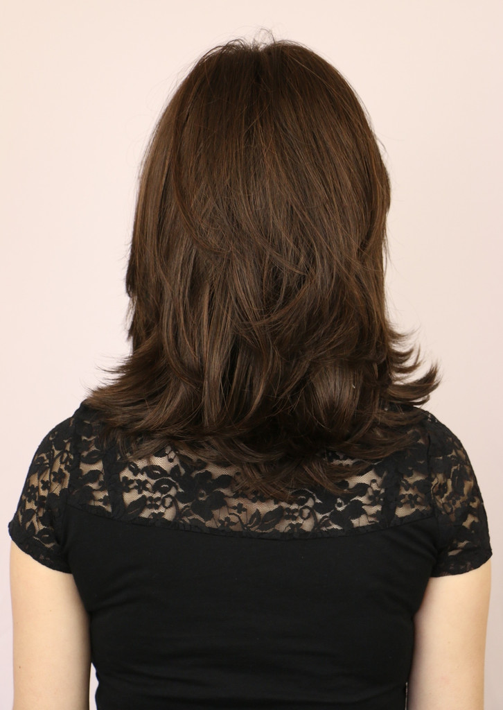 Back of Rochelle  Long Wig in Ginger Brown.