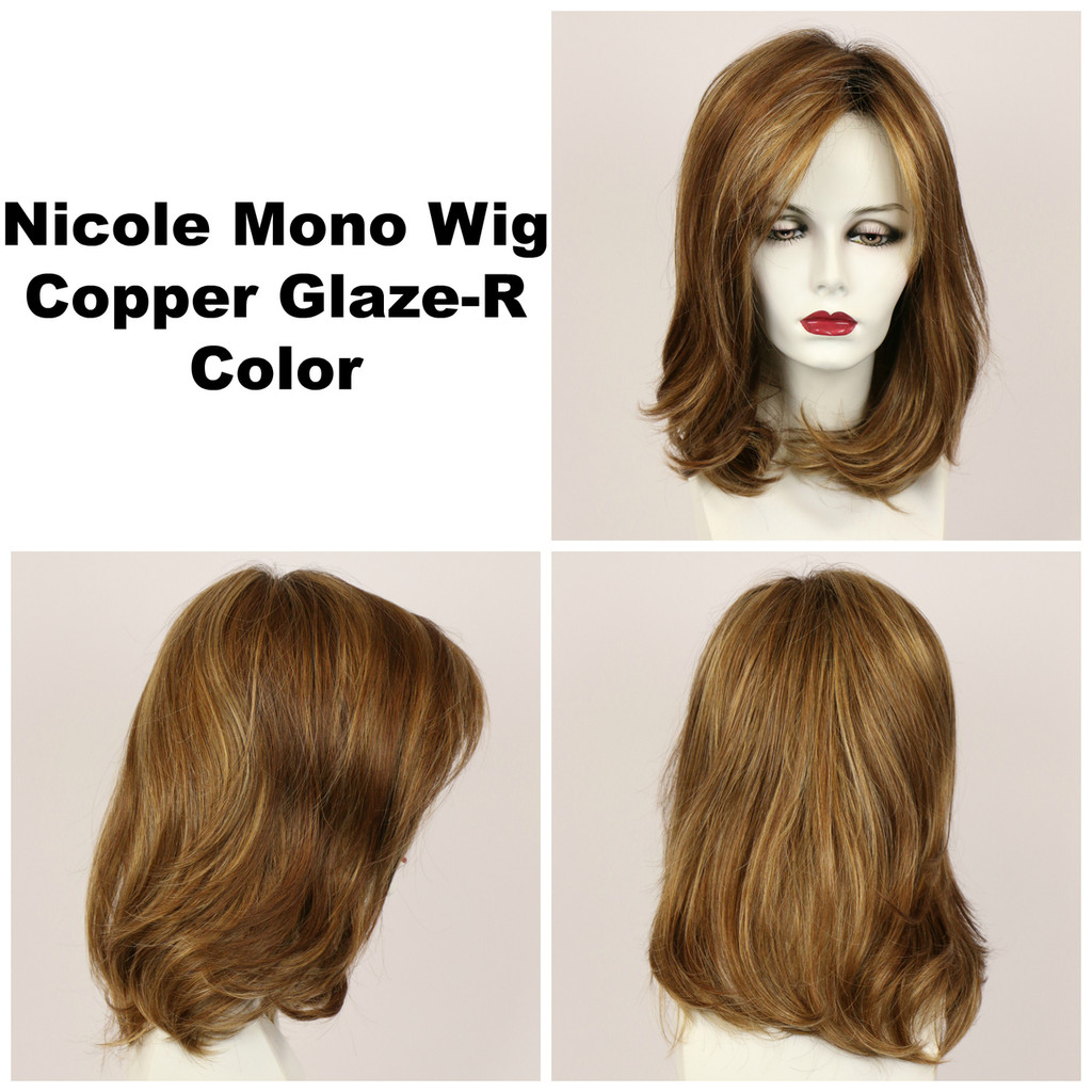 Copper Glaze-R / Nicole Monofilament w/ Roots / Medium Wig