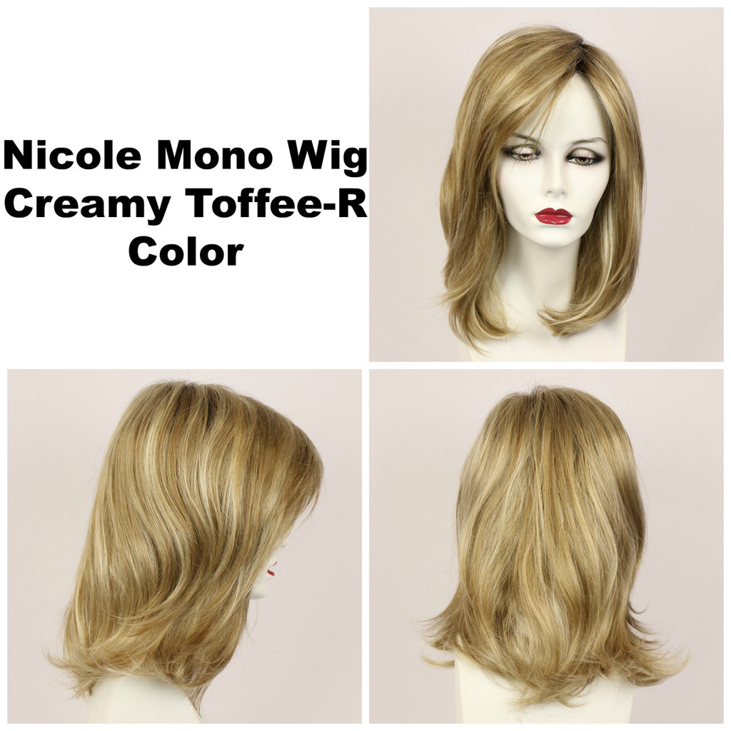 Creamy Toffee-R / Nicole Monofilament w/ Roots / Medium Wig