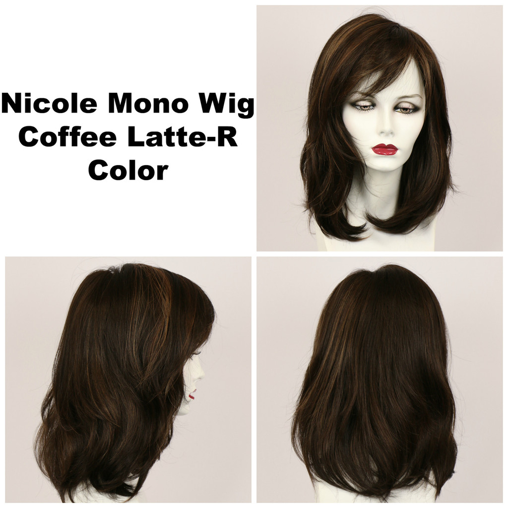 Coffee Latte-R / Nicole Monofilament w/ Roots / Medium Wig