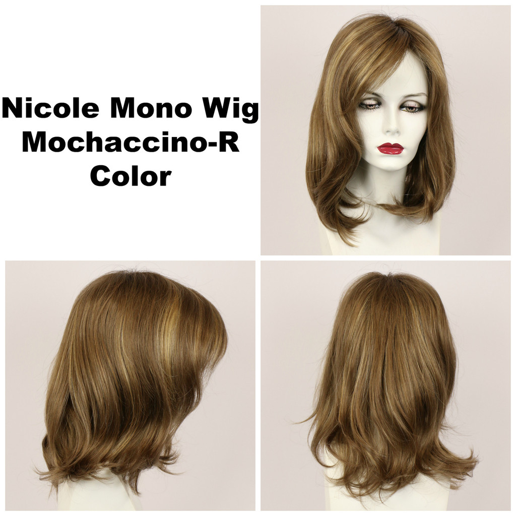 Mochaccino-R / Nicole Monofilament w/ Roots / Medium Wig