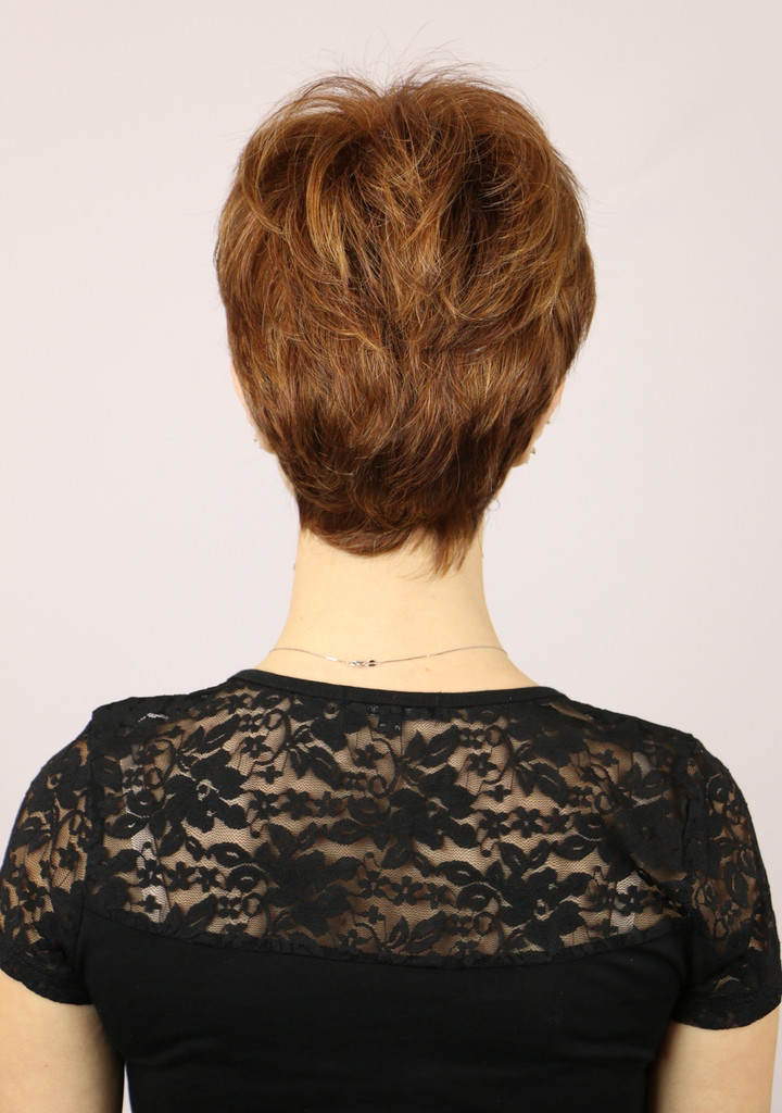 Back of Petite Sheila Short Wig in Irish Spice.