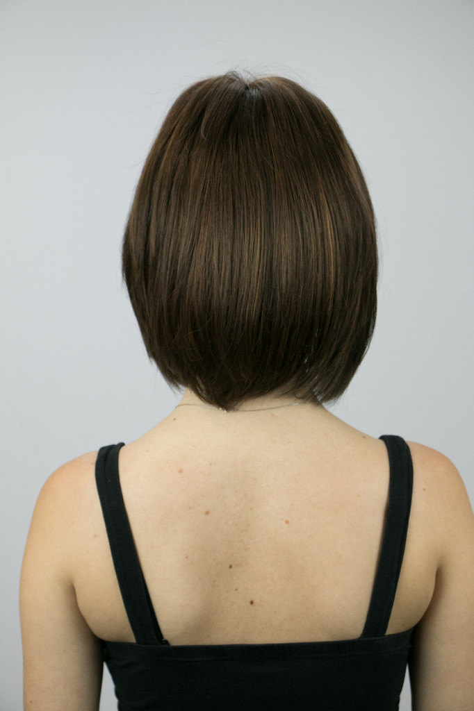 Back of Sasha Mono Lace Front Wig in Toasted Brown.