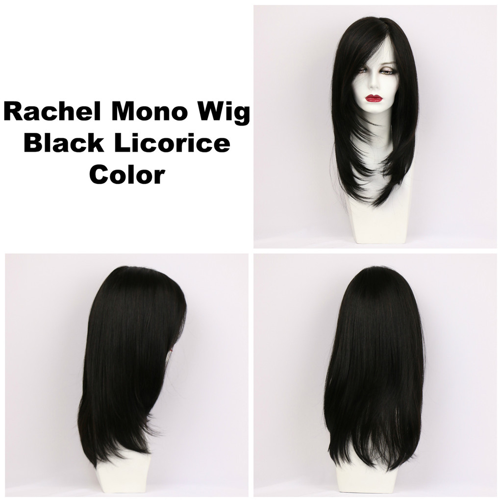Black Licorice / Rachel Monofilament w/ Roots / Long Wig